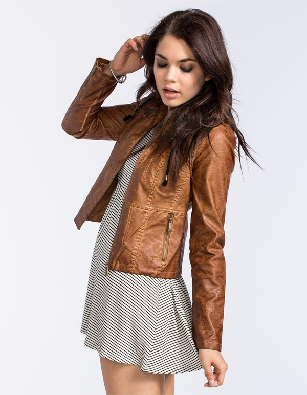 JOU JOU Gar Dye Womens Faux Leather Jacket | Jackets