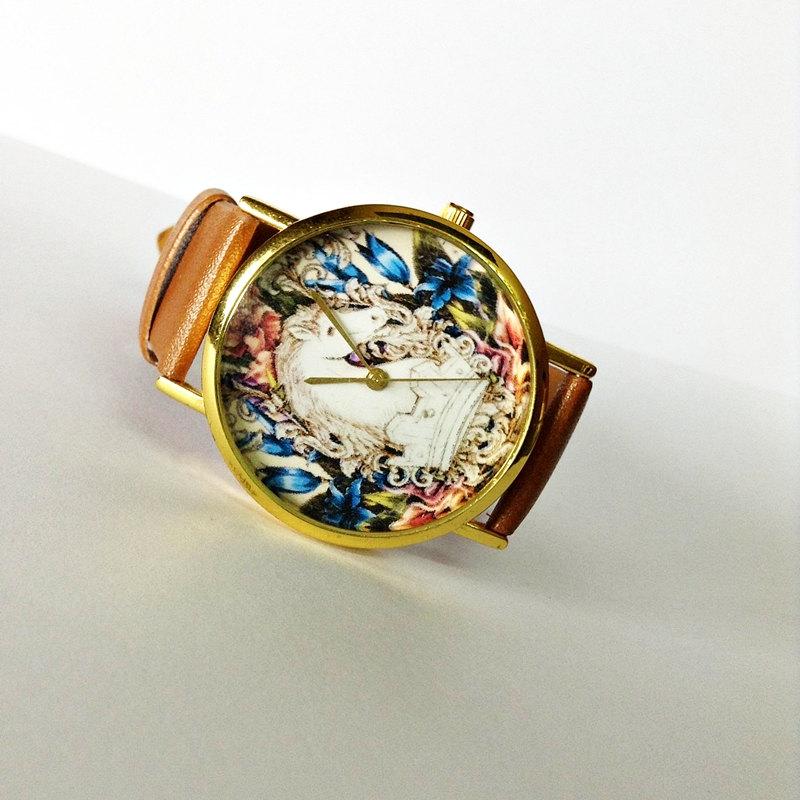 Vintage Horse Watch , Vintage Style Leather Watch, Women Watches, Boyfriend Watch, White Horse, Tan
