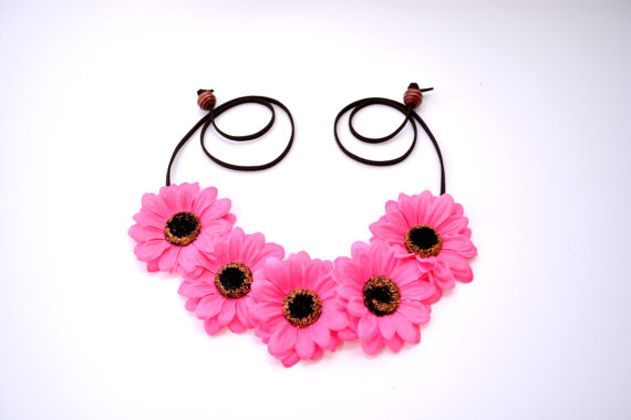 Pink Flower Headband Hot Pink Flower Crown Floral Crown Festival ... 8dc641e6424