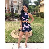 romper,zaful,flashes of style,floral,two piece dress set,crop tops