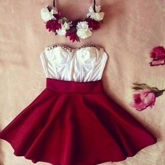 dress red dress burgundy couronne floral fleurs