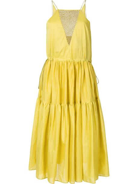 dress women cotton yellow orange