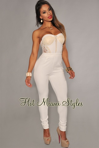 White Lace Accent Strapless Padded Jumpsuit