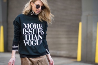 black sweater stripes wayfarer blogger streetstyle suede skirt quote on it vogue
