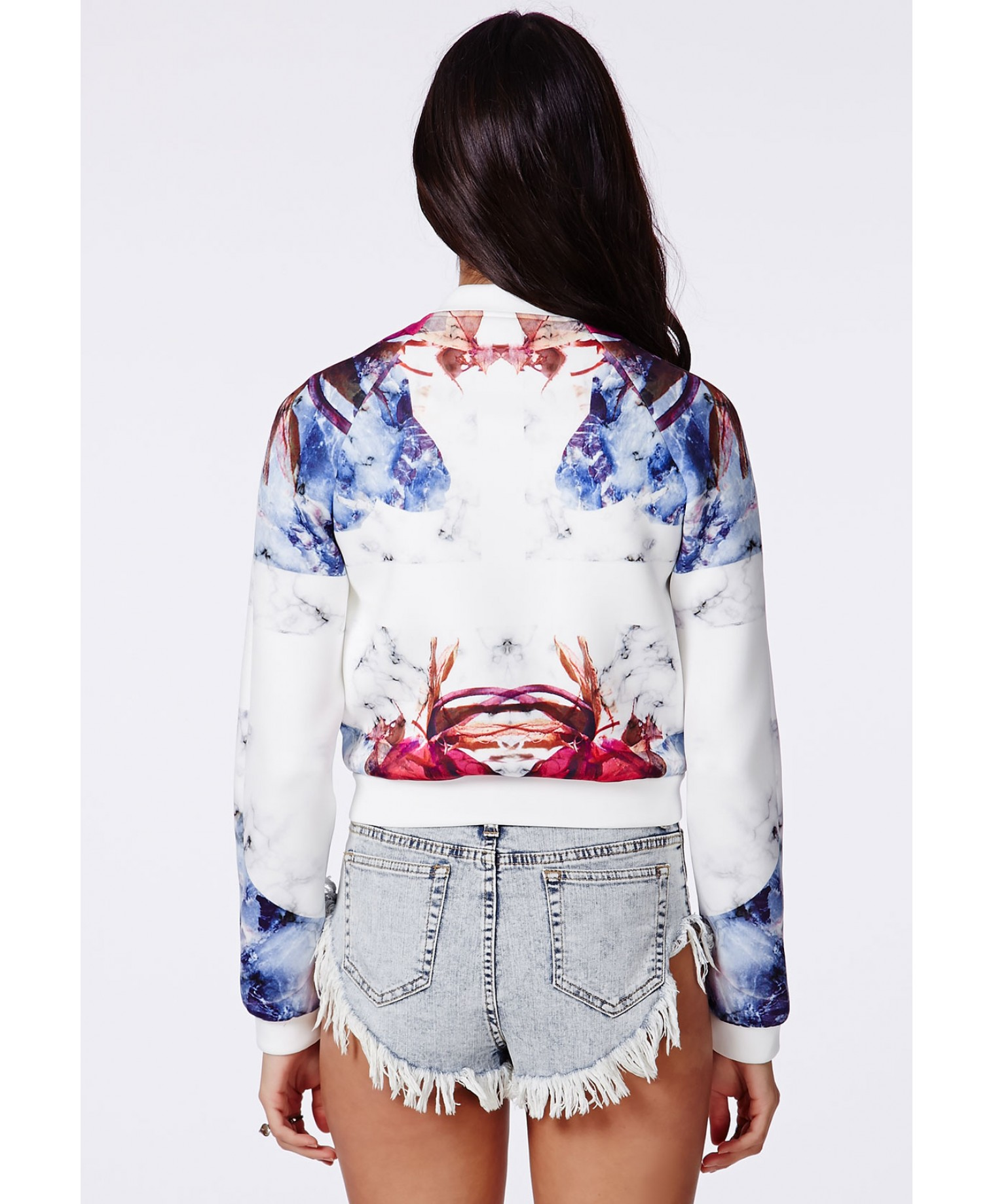 Krissy graphic print neoprene bomber jacket