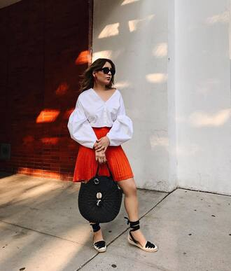 shoes tumblr sandals flat sandals espadrilles skirt mini skirt red skirt top white top puffed sleeves white blouse bag black bag round tote