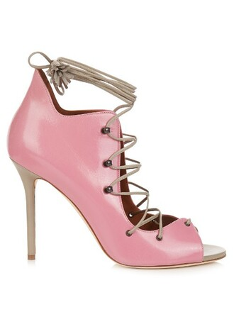 sandals leather sandals lace leather pink shoes