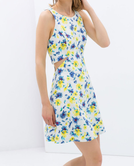 ecru dress zara trf zara zara dress www.zara.com trf skater dress summer dress summer dress, floral dress summer dress sweet want it floral 258438 floral dress floral dress short summer outfits summer clothing cut-out cut-out dress cute dress cute dresses girly dress girly dresses 2014 summer fashion style blue flowers yellow flowers white dress floral print dress