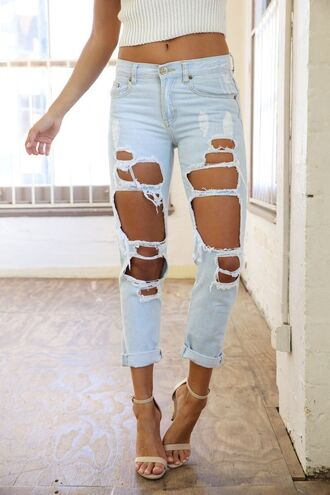 jeans blue ripped denim