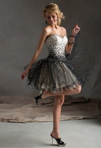 dress short dress black retro prom dresses white dress glitter dress sparkle beaded dress sweetheart dress formal dress