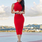 High neck midi bandage dress red
