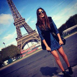sunglasses paris france eiffel tower happiness girly smile cute dress dress