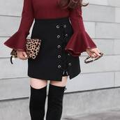 skirt,thi,bel,tumblr,mini skirt,black skirt,lace up skirt,lace up,bag,leopard print,pouch,over the knee boots,boots,black boots,top,bell sleeves