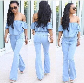 blouse denim blue blue shirt blue jeans off the shoulder flare jeans flare pants flare jumpsuit