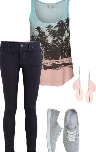 tank top jeans jewels shoes