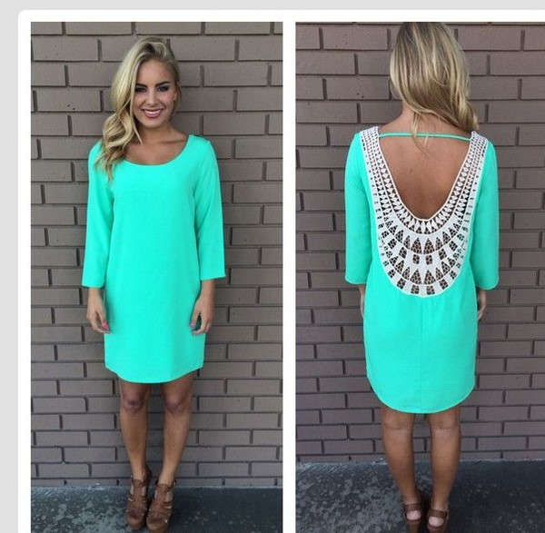 dress summer open back mint dress