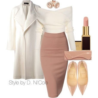 style polyvore skirt midi skirt heels jewels jewelry nude heels kim kardashian style white coat bodycon skirt off the shoulder sweater white sweater classy pointed toe patent shoes nude lipstick nude cute