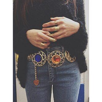 belt golden vinatge orange 80's 90s style sailor moon