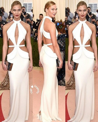 dress karlie kloss white dress cut-out dress cut-out met gala