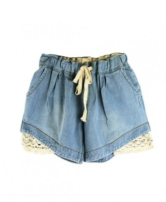 shorts loose blue lace prettt pretty nice summer mini short bow ribbon