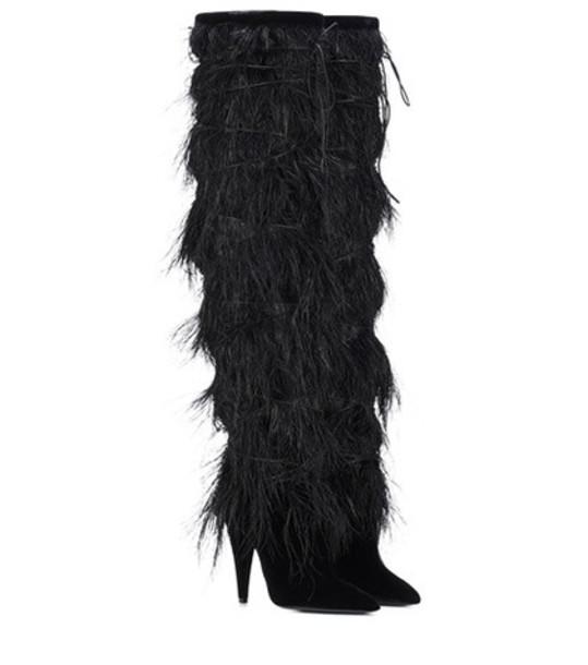Saint Laurent Yeti 110 feather-trimmed velvet boots in black