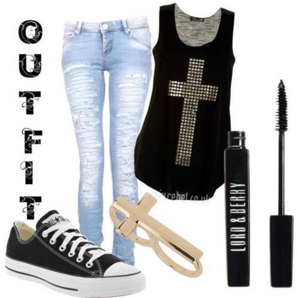 top pants jeans jewels noir slim jeans