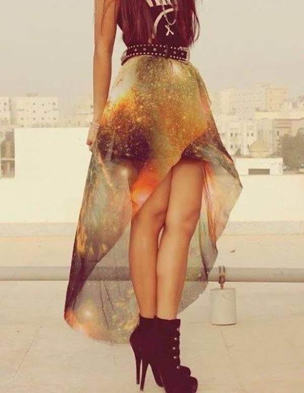 skirt galaxy skirt galaxy print long and short skirt short at the front pretty orange
