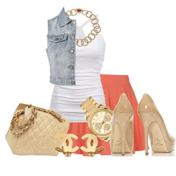 bag shoes skirt tank top jewels