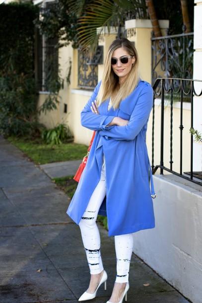 devon rachel blogger coat blouse jeans shoes bag sunglasses jewels