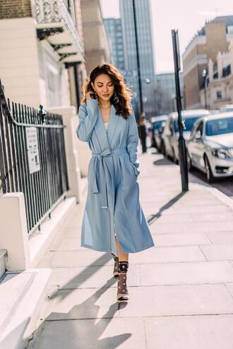 not jess fashion blogger coat socks shoes jewels blue coat sandals spring outfits duster coat high heel sandals socks and sandals