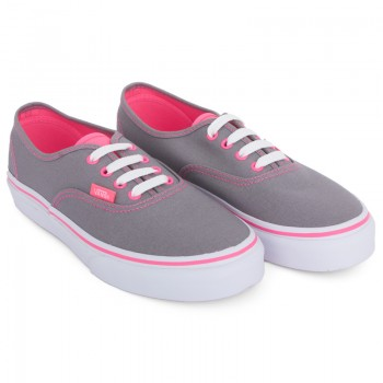 Vans Girls Gray & Neon Pink Authentic Sneakers | AlexandAlexa
