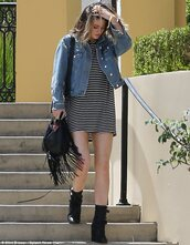 dress,stripes,kylie jenner,striped dress,jacket,black and white,t-shirt dress