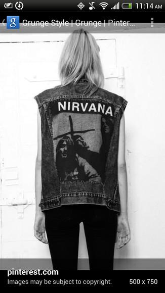 jeans jacket nirvana vest denim vest vintage nirvana nevermind