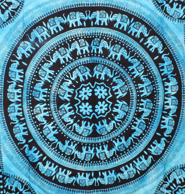 Large turquoise elephant mandala tapestries hippie decor hippy tapestries boho throw bedspread bed decor sheet ethnic decorative art hanging