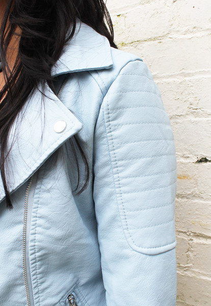 Baby blue pastel leather look double breasted biker jacket – one nation clothing