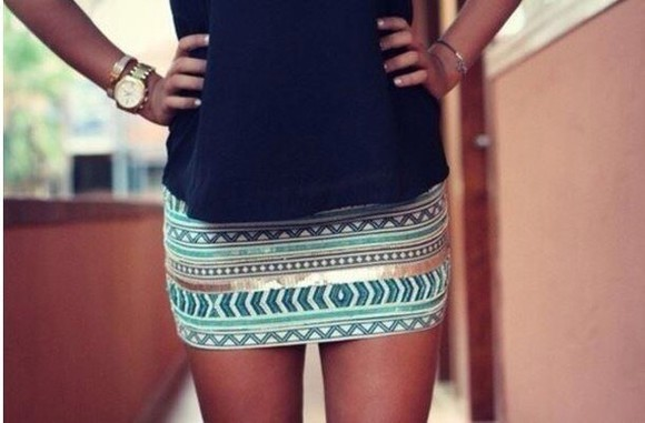 skirt teal aztec gold