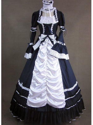 Buy Long Sleeve Cotton Gothic Lolita Dress with Bowknot and Lace under 300-SinoAnt.com