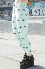pants,mint,pastel,pastel goth,jeggings,blue,eyes,cute,blue pants