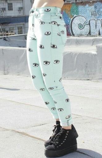 pants mint pastel pastel goth jeggings
