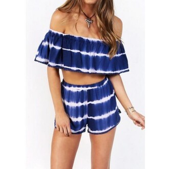 skirt blue off shouler enchanting two-piece sexy off shoulder blouse sexy lady summer party shorts tie dye pants off the shoulder set blue and white sexy two piece set fashion lady necklace love girl