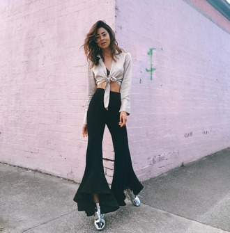 pants na-kd frilly black trousers silk streetstyle coachella coachella outfit blouse