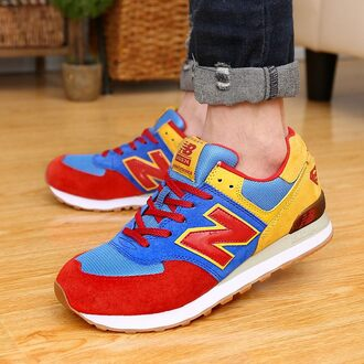 shoes new balance sneakers us574 nb superman nb blue red shoes yellow heel unisex shoes classic nb discount cheap nb