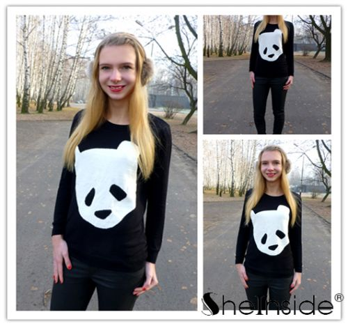 Black Long Sleeve Bear Print Pullovers Sweater - Sheinside.com