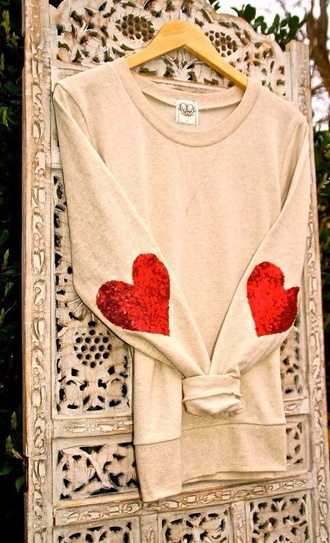 sweater nude heart glitter red long sleeves