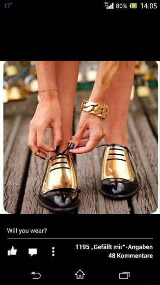 celine shoes gold