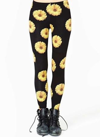 pants daisy black yellow leggings black leggings