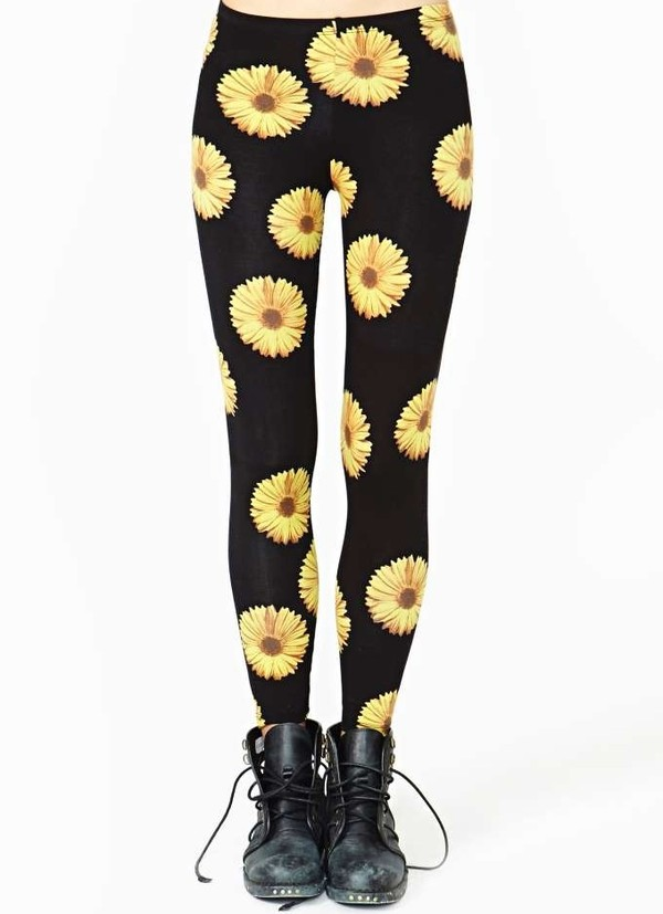 pants daisy black yellow leggings black leggings