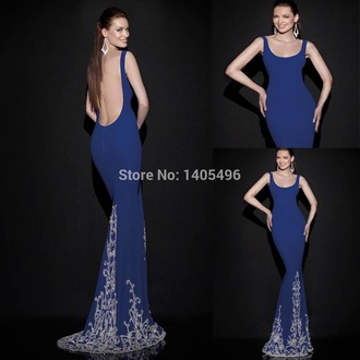 dress embellished dress lowback backless royal blue prom dress long train dress