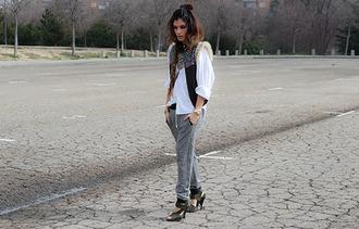 madame rosa blogger grey sweatpants white shirt gypsy pants shirt jacket bag shoes jewels sweatpants joggers