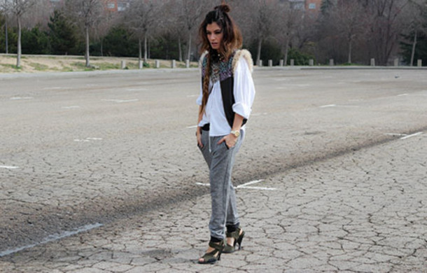 madame rosa blogger grey sweatpants white shirt gypsy pants shirt jacket bag shoes jewels sweatpants joggers